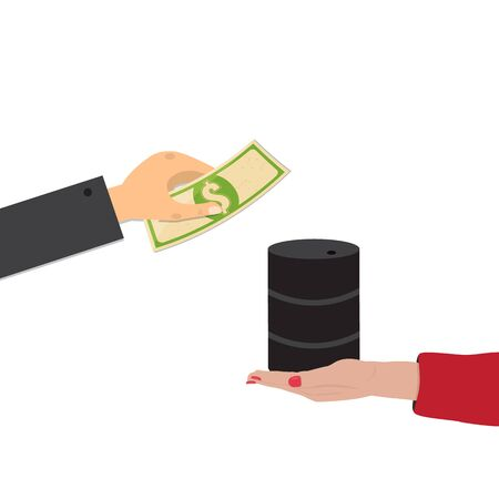 Purchase of oil , the exchange of the dollar for oil concept.