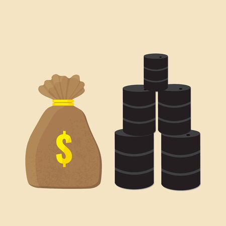 Money bag and barrels of oil. Price of oil concept. Vector stock illustration.