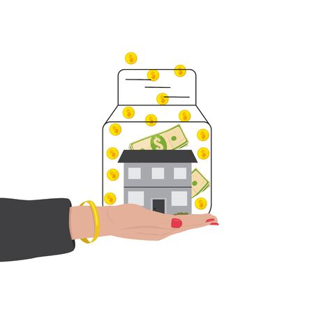 House in a glass jar and money - the symbol of bank and mortgage Illusztráció