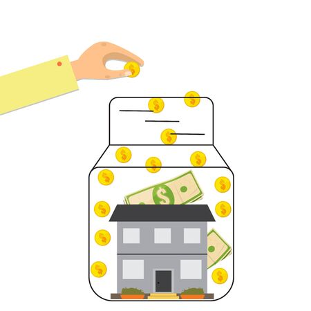 House in a glass jar and hand invests money - the symbol of bank and credit.