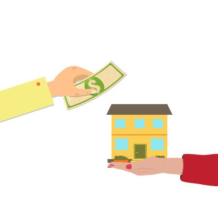 Home purchase concept. Hands Exchange money for a house.