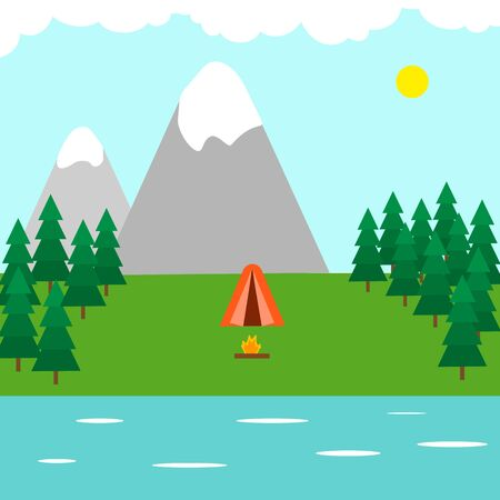 Tent in the forest, mountains and lake, campfire. Camping, outdoor recreation concept. Vector stock illustration. Illusztráció