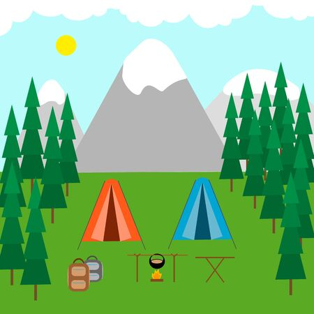 Tent camp in the forest, mountains and lake, campfire. Camping, campground, outdoor recreation concept. Vector stock illustration. Illusztráció