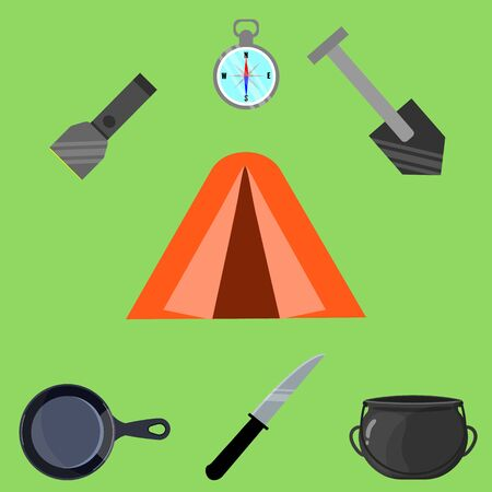 Set of objects for camping tent, lantern, shovel, compass, knife, frying pan. Vector stock illustration in flat style. Illusztráció