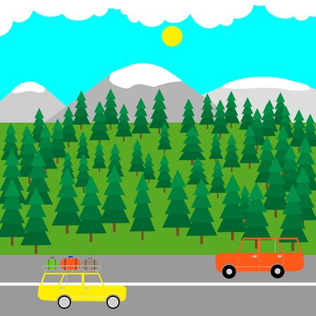 Forests, mountains landscape with travel cars rides on the road on foreground. Vector stock illustration.