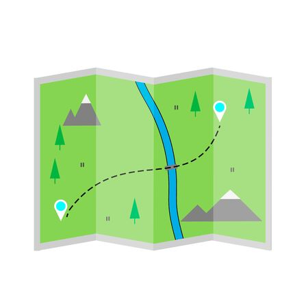 Map of a forest area with mountains and a river. Orientation on the terrain , path finding concept.