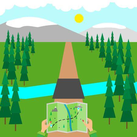 Hands hold a map on forest road. Terrain orientation, navigation concept. Vector stock illustration. Illusztráció