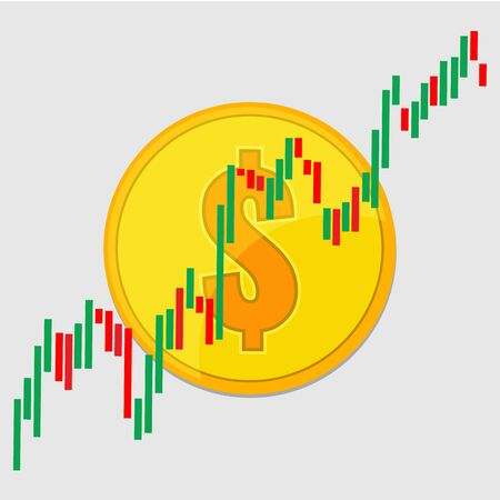 Dollar gold coin and Candlestick chart graphic design. Price of dollar currency concept.