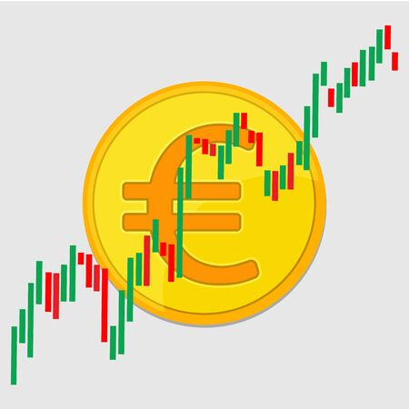 Euro gold coin and Candlestick chart graphic design. Price of euro currency concept. Illusztráció