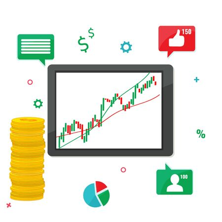 Computer tablet with trading chart graphic and stack of coins. Working on Financial market concept. Vector stock illustration. Illusztráció