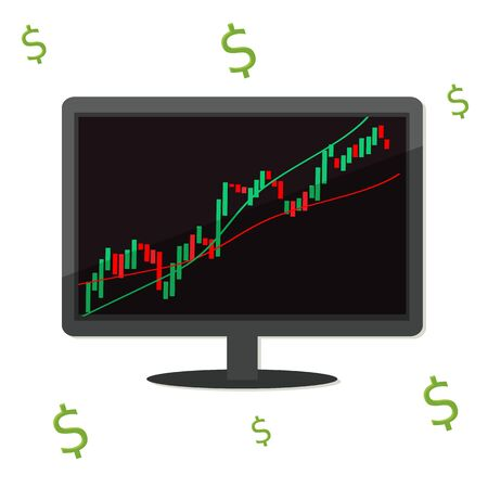 Monitor screen with trading chart graphic and dollar sign. Working on Financial market concept. Vector stock illustration. Illusztráció