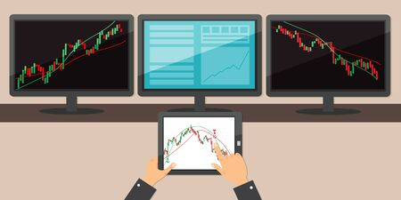 Three monitor screen and tablet with trading chart graphic. Working on Financial market concept. Vector stock illustration.