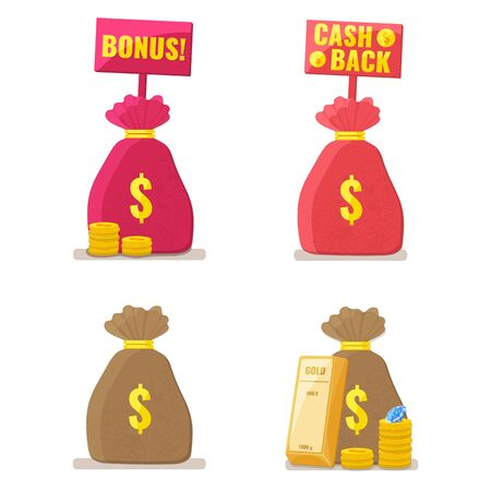 Set of Money bags with cash back and bonus signs, gold bullion, coins and diamond. Money refund label. Capital, banking, investment concept. Vector illustration