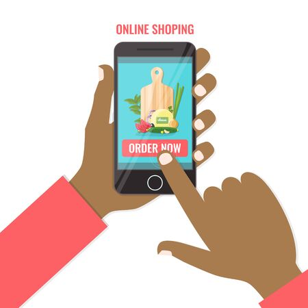 Purchase food online on the smartphone. Shopping online business, order now concept. Vector illustration.