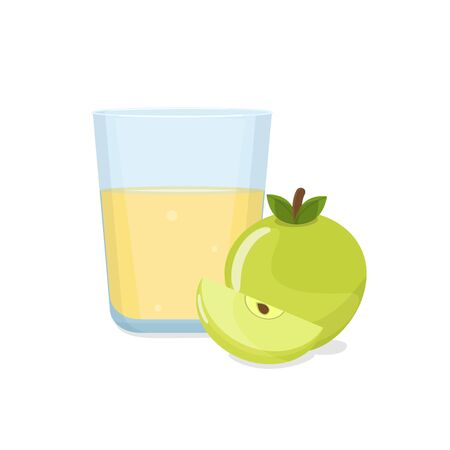 Glass of apple juice and green apple with a slice. Natural fresh squeezed juice. Healthy diet.