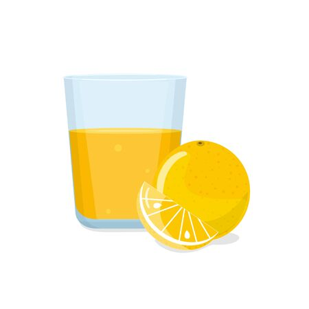 Glass of orange juice and orange with a slice. Natural fresh squeezed juice. Healthy diet.