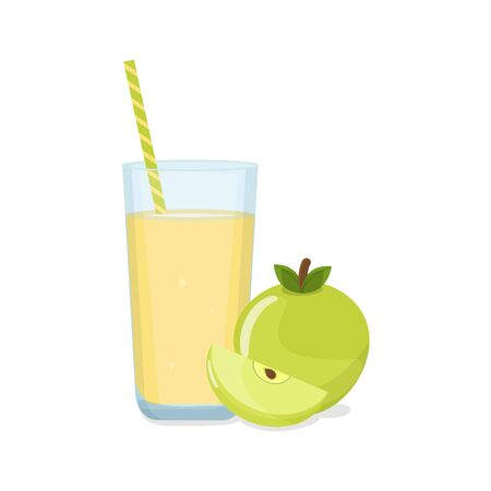 Tall Glass of apple juice with tube and green apple with a slice. Natural fresh squeezed juice. Healthy diet.
