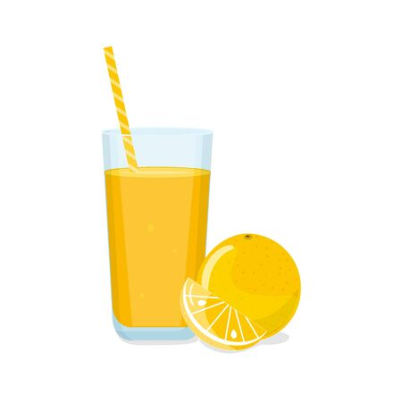 Tall glass of orange juice with tube and orange with a slice. Natural fresh squeezed juice. Healthy diet.