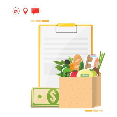 Food delivery concept. Order sheet, money, package with products.