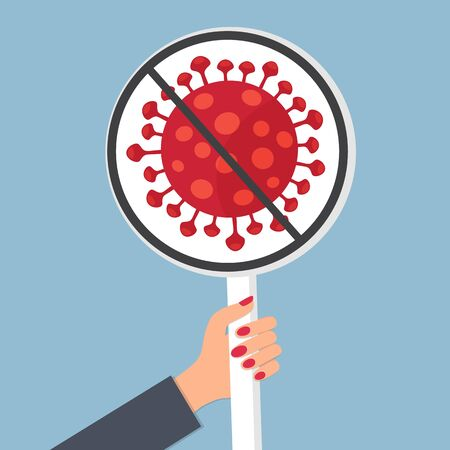 Coronavirus 2019-nCoV. Banner in hand. Concept - stop coronavirus.
