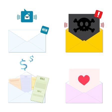 Collection of envelope icons new incoming email, spam, receipt, greeting card. Mailing list, email service concept.