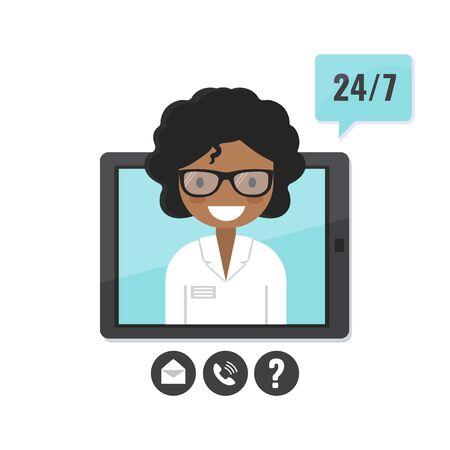 Female therapist on tablet screen. Doctor consultation service, tele medicine, medical support application Illusztráció