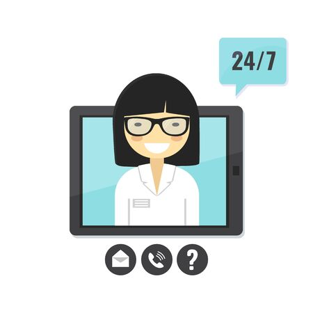 Female doctor gives an medical advise on tablet computer. Doctor consultation service, tele medicine, medical support application. Vector stock illustration in flat style.