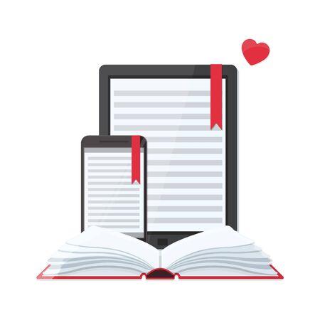 Media book library concept. E-book, E-learning online, archive of books concept.