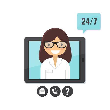 Online doctor concept. Patient consultation via tablet computer, medical support application. Illusztráció