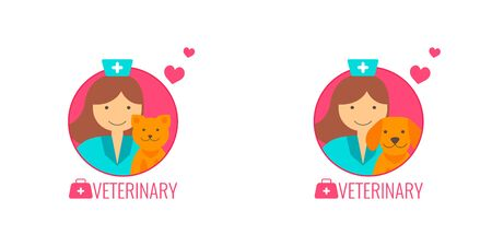 Set of vector icons for Veterinary medicine. Doctor with cat and dog. Illusztráció