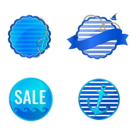 Set of nautical labels for travel agency, seaside resort and yacht club. Vacation and travel by sea badges