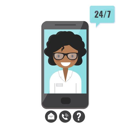 Female therapist on smartphone screen. Doctor consultation service, tele medicine, medical support application