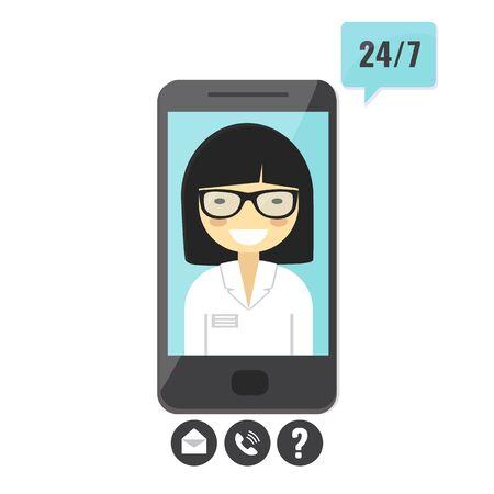 Female doctor gives an medical advise on smartphone. Doctor consultation service Illusztráció