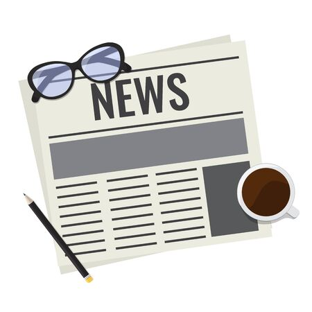 Newspaper, Daily news press magazine reading concept. Newspaper with glasses, cup of coffee and pencil. Vector stock illustration isolated on white background