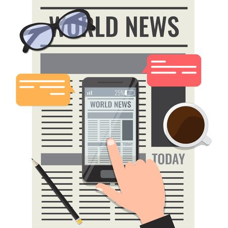 Newspaper online reading concept. Newspaper in smartphone with glasses, cup of coffee and pencil. Vector stock illustration isolated on white background