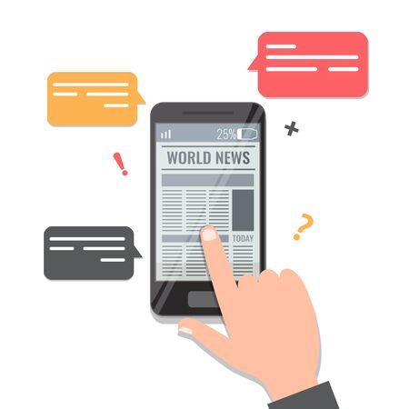 Newspaper online reading concept. Man hand flips through the news on a smartphone newa app. Vector stock illustration isolated on white background