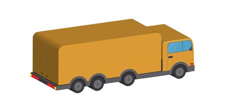 Yellow truck isolated on white background. Vector stock illustration in 3D style.