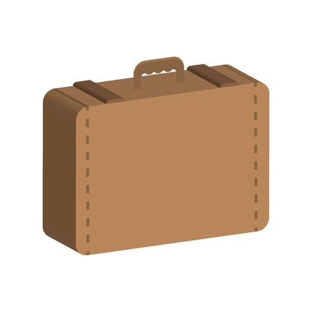 Brown suitcase with a handle.3D style. Vector stok illustration. Isolated on white bakground.