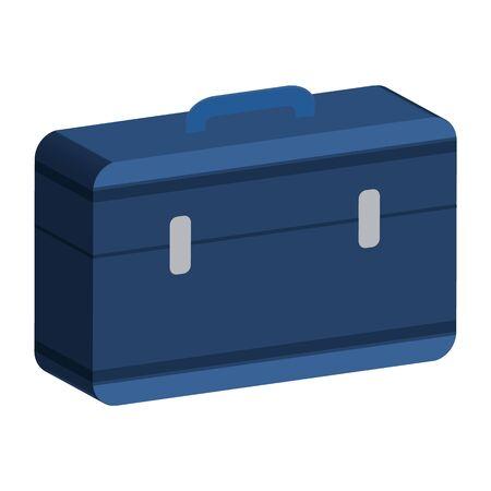 blue suitcase with a handle. 3D style. Vector stok illustration. Isolated on white bakground. Illusztráció