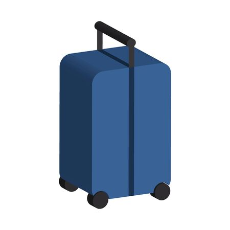 blue suitcase on wheels with a handle. 3D style. Vector stok illustration. Isolated on white bakground.