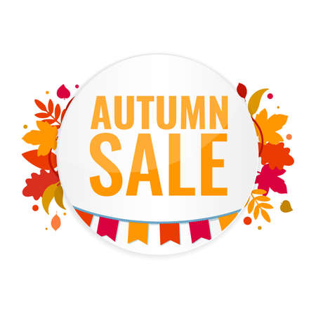 Autumn sale discount banner with autumn leaves and flags. Season discount concept.