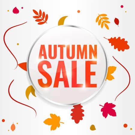 Autumn sale discount banner with autumn leaves. Season discount concept.