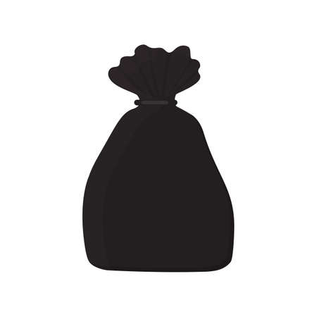 Black trash bag with ties. Ecology concept. Vector stock flat illustration isolated on white background.