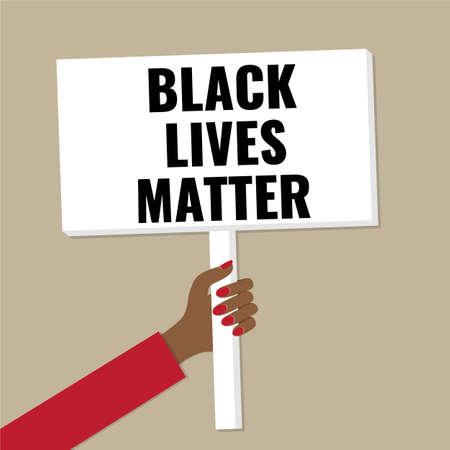 Banner in hand. Concept - black lives matter, anti racism demonstration. Illusztráció