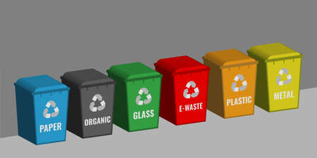 set of colored containers for sorting garbage. Waste recycling concept.