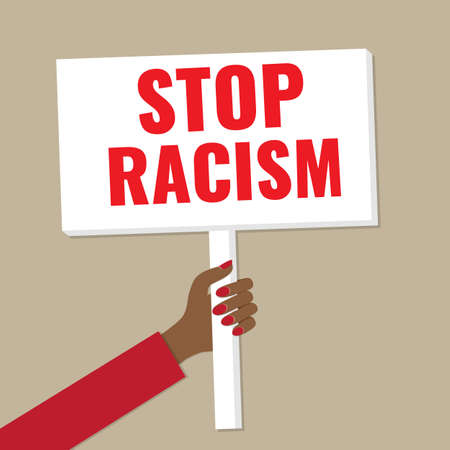 Banner in hand. Concept - stop racism, anti racism demonstration.