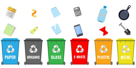 Set of colored containers for sorting garbage with wheels and garbage by sorting categories. Waste recycling concept.