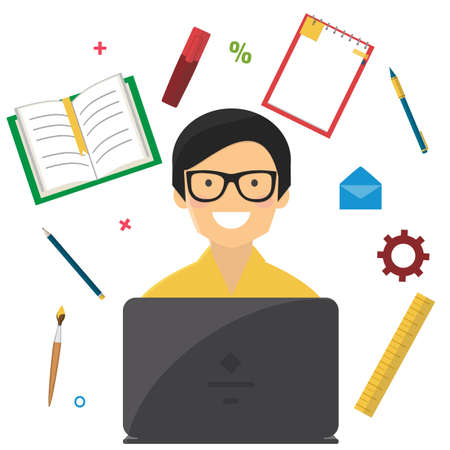 Man with notebook and school stuff. Online education, e-learning concept.
