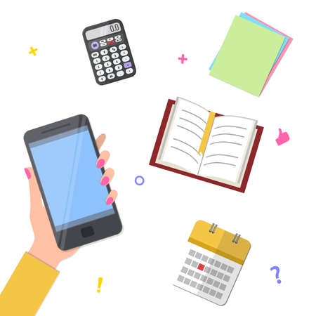 Hand with smartphone and book, calculator, calendar, paper. Back to school concept.