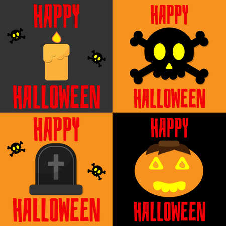 Set of Banners with skulls, candle, pumpkin, gravestone for Halloween. Happy Halloween Day concept.
